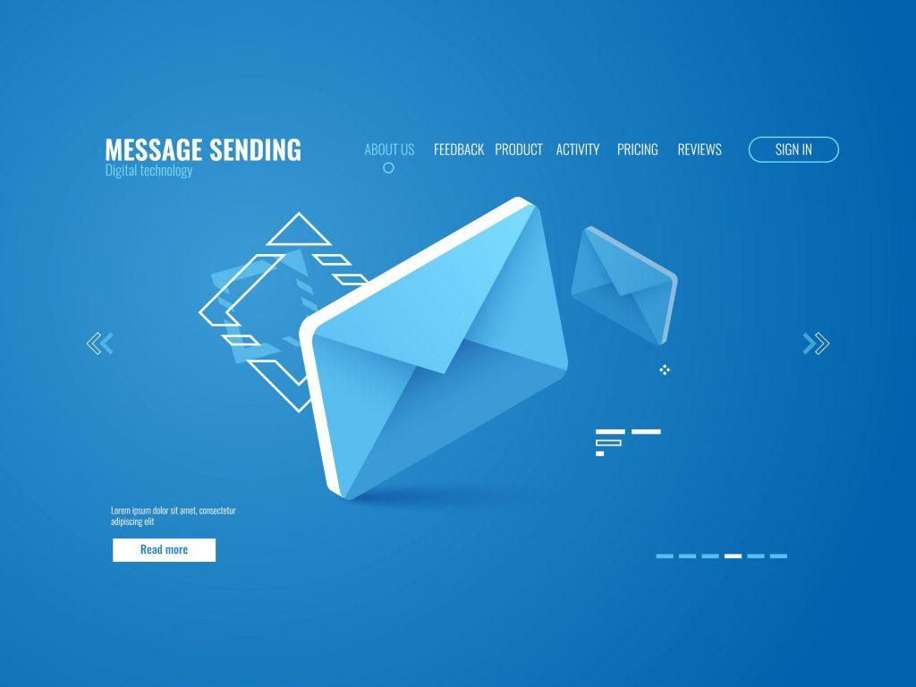 Web page template image with message icon, email sending concept, online advertising
