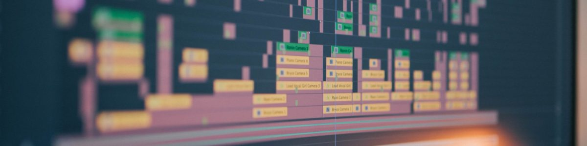 Editing software displayed on a monitor