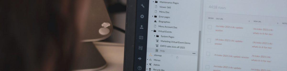 Laptop screen displaying websites editing options. Help tab is selected.